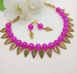 Black Pan India Oxidized Beads Work Necklace Set, Size: Free Size