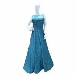 Silk Ladies Blue Fancy Gown
