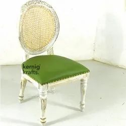 White & Green Kernig Krafts Hand Carved Wooden French Colonial Customisable Chair