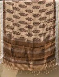 Traditional Printed Linen Sarees, With blouse piece, 5.5 m (separate blouse piece)
