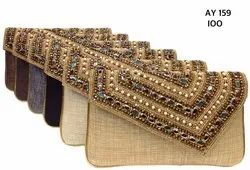 Embroidered Ladies Stylish Beaded Jute Clutch Bags AY 158, AY 159, Packaging Type: Box