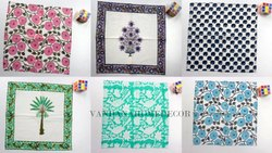 Microfiber White Hand Block Printed Cotton Napkin for DDF