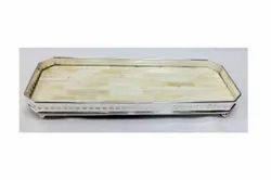 Brass Silver Plated Mother of Pearl Tray Large