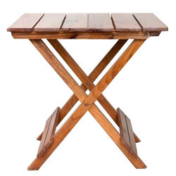 Square Brown Wooden Folding Table