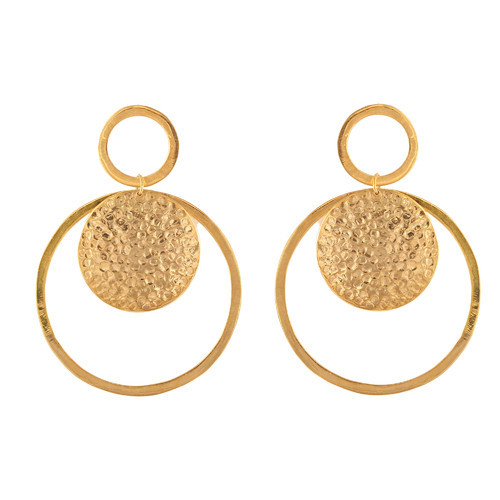 Silver or Pink Gold Tiny Circle Hammered Stud Earrings in Gold
