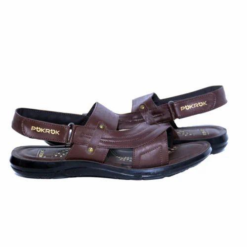 8b6b4e58419 Daily Wear POKROK Men Brown PU Sandals