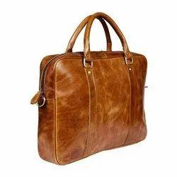 Purwanchal Tan Leather Handmade Office Bag