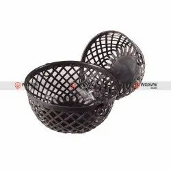 Woavin Studio Metal Iron Basket Set of Two for Home, Size: 30x30x26 Cms