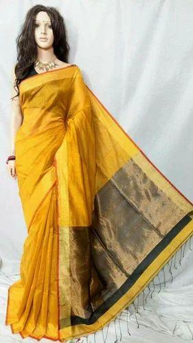 1ff10d4ae2 Body Designed Handloom Cotton Silk Jori Pallu Saree, With Blouse Piece