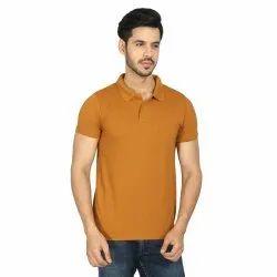 Boys Plain Dark Peach Polo Half-Sleeve T-Shirts