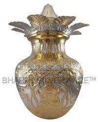 Pure Silver Ganga Jamuna Lakshmi Ganesha Kalash (Gold Accent)