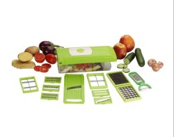 12 in 1 Vegetable Cutter -Chopper, chipser,Grater,Slicer Dicer,Peeler -All in One (Green & White)
