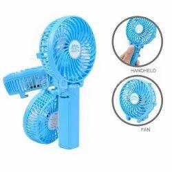 Sky Blue Plastic Battery Operated Mini Hand Fan