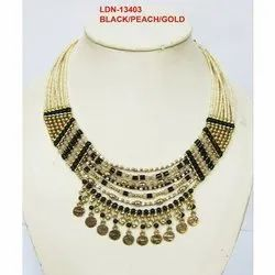 Brass Black, Peach And Gold LDN - 13403 Partywear Necklace