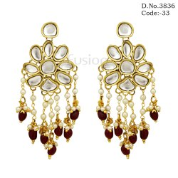 Traditional Antique Pearl Kundan Earrings