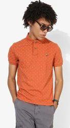 U S Polo Assn Orange Printed Regular Fit Polo T-Shirt