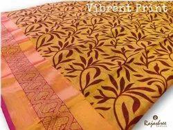 Rajashree Party Wear Vibrant Print Cotton Saree, 6 M (with Blouse Piece)