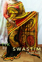 SWASTIM Party Festival Lagdi Patta Gajji Silk Saree, 6.5M