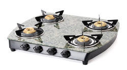 4 Stainless Steel Green Marble Toughened Glass LP Gas Stove, For Kitchen