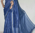 Blue Check Linen Saree With Blouse