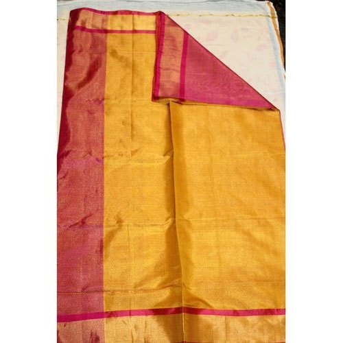 Plain Mustard,Red Mustard Uppada Silk Saree, 6.3 m (with blouse piece)