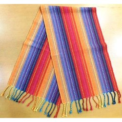 Cotton Ribbed Table Runner With Tassel
