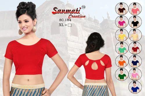 316563af964c3 Pure Cotton Lycra Red Plain Stretchable Designer Women  s Blouse