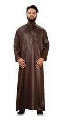 Brown Color Premium Imported Quality Polyester Plain Kurtas Jubba Thobe For Men
