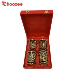 Choozee - Brass Handmade Designer Glass Set of 4 Pcs