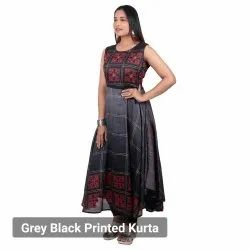 Cotton Regular Grey Black Printed Kurtis, Wash Care: Anything you can do