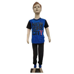 Half Sleeves Blue And Black Kids Night Suit