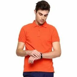 Flying Bees Polo Neck Plain Mens Orange Collar T Shirt, Size: S To XXL