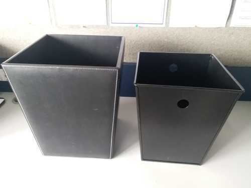 BLACK Wood LEATHER DUSTBIN, Capacity: 11-15 Liters