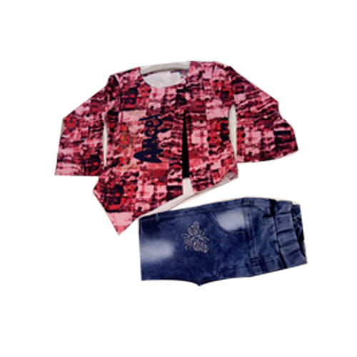 Party Wear Baby Girls Jeans Top Set