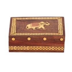 Handmade Rectangle Wooden Box With Brass Elephant Label, Size: 5x3 Inch