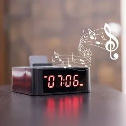 Clocky Bluetooth Speaker With Mobile Holder With FM AUX