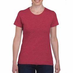 Ladies Round Neck Red T-Shirt