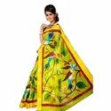 Yellow Floral Print Cotton Saree, 5.5 M (separate Blouse Piece)