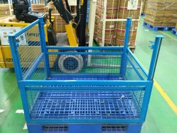 Plastic Pallet with Steel Cage.