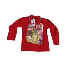 Party Wear Printed Kid Collar Neck Cotton T Shirt, Size: S to XL