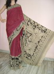 Party Wear Printed Kalamkari Soft Silk Saree, With Blouse Piece