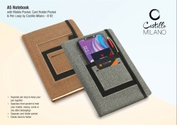 B92 - A5 Notebook With Mobile Pocket, Card Holder Pocket & Pen Loop By Castillo Milano