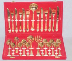 27 Pcs Oval Gold Plated Cutlery Set