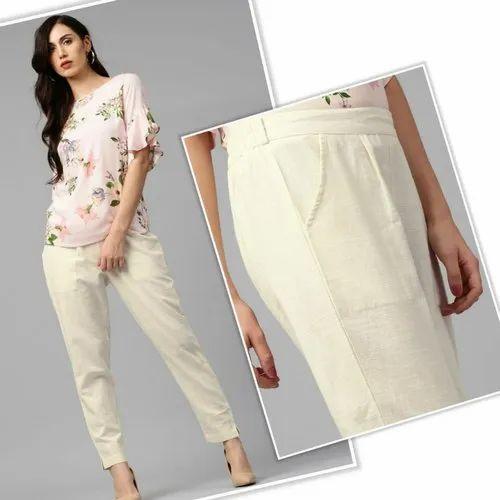 Regular Fit Plain Ladies Off White Cotton Pencil Pant, Waist Size: 30.0