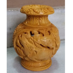 Hand Carved Wooden Vase