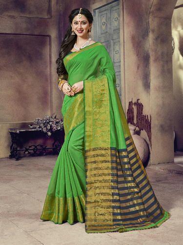 Leaf Green Designer Traditional Wear Chanderi Cotton Saree with ...