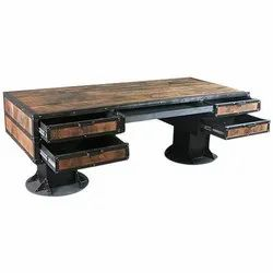 Modern Iron Wooden Table With Drawer