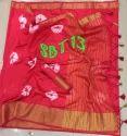 Ladies Tussar Silk Saree with Bandhani Print