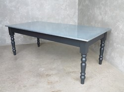 Standard Height Dark Brown Wooden Dining Table with Metal Sheet Top, Size/Dimension: 72*36*30 Inch, for Hotel