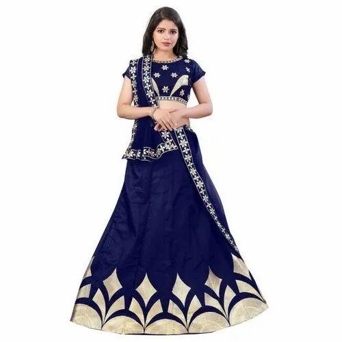 4517b8d137 Designer Blue Party Wear Lehenga Choli, Lehenga Choli - Three Star ...